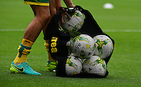 A close up on Norwich City branded Mitre match footballs<br /> <br /> Photographer Chris Vaughan/CameraSport<br /> <br /> Football - The EFL Sky Bet Championship - Blackburn Rovers v Norwich City - Saturday 6th August 2016 - Ewood Park - Blackburn<br /> <br /> World Copyright © 2016 CameraSport. All rights reserved. 43 Linden Ave. Countesthorpe. Leicester. England. LE8 5PG - Tel: +44 (0) 116 277 4147 - admin@camerasport.com - www.camerasport.com