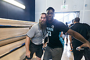 THOUSAND OAKS, CA Sunday, August 12, 2018 - Nike Basketball Academy. Kofi Cockburn 2019 #23 of Oak Hill Academy poses with security for the camera. <br /> NOTE TO USER: Mandatory Copyright Notice: Photo by Jon Lopez / Nike
