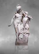 Roman marble sculpture of Ganymede with an eagle, a 2nd century AD copy from an original 2nd century BC late Hellanistic Greek original, inv 6405, Naples Museum of Archaeology, Italy ..<br /> <br /> If you prefer to buy from our ALAMY STOCK LIBRARY page at https://www.alamy.com/portfolio/paul-williams-funkystock/greco-roman-sculptures.html . Type -    Naples    - into LOWER SEARCH WITHIN GALLERY box - Refine search by adding a subject, place, background colour, etc.<br /> <br /> Visit our ROMAN WORLD PHOTO COLLECTIONS for more photos to download or buy as wall art prints https://funkystock.photoshelter.com/gallery-collection/The-Romans-Art-Artefacts-Antiquities-Historic-Sites-Pictures-Images/C0000r2uLJJo9_s0.