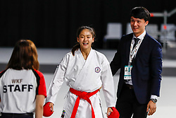 November 10, 2018 - Madrid, Madrid, Spain - Wen Tzu-Yun (TPE) win the third place of Female Kumite -55 Kg during the Finals of Karate World Championship celebrates in Wizink Center, Madrid, Spain, on November 10th, 2018. (Credit Image: © AFP7 via ZUMA Wire)