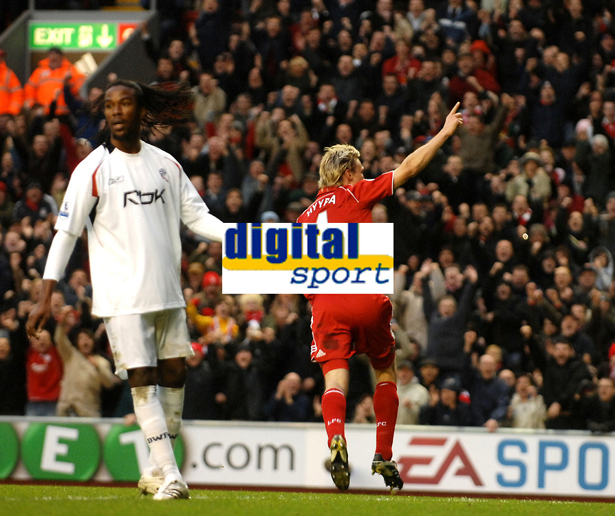 Photo: Paul Greenwood/Sportsbeat Images.<br />Liverpool v Bolton Wanderers. The FA Barclays Premiership. 02/12/2007.<br />Liverpool's Sami Hypia celebrates scoring the opening goal