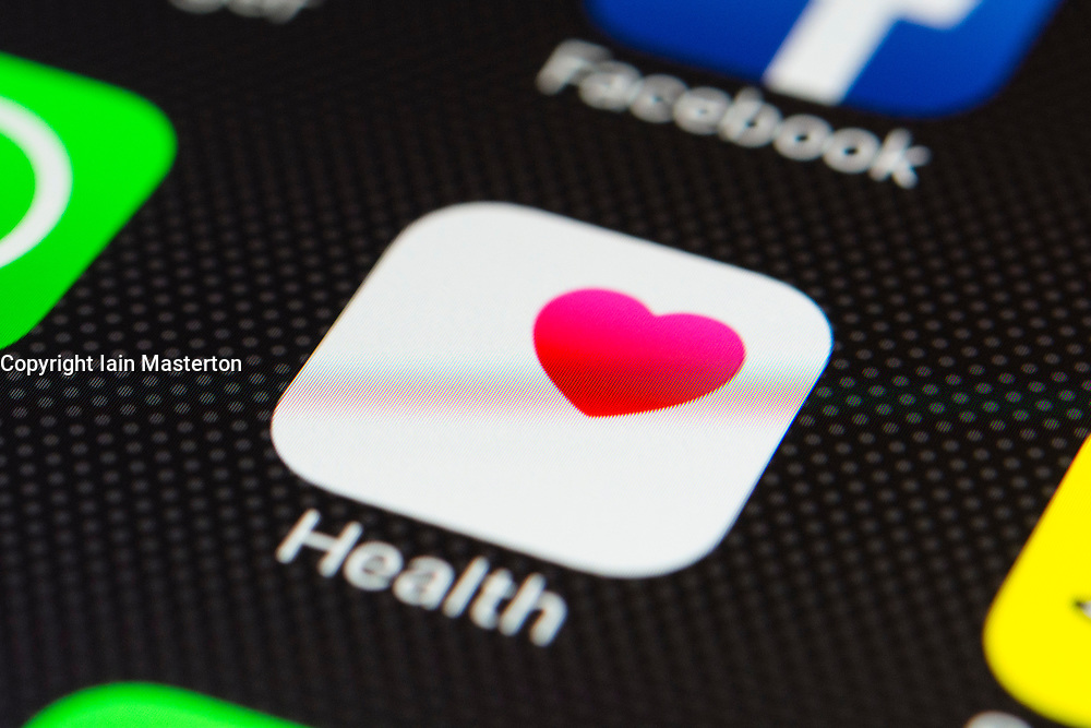 Apple health app close up on iPhone smart phone screen