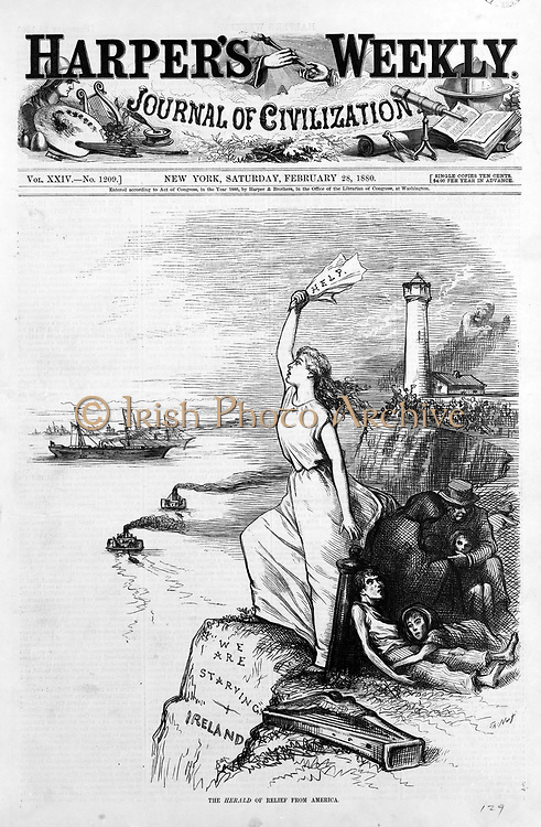 The Herald of relief from America. Woman, on the shore of Ireland, holding up a sign for help to American ships; her foot rests on rock enscribed 'we are starving'. Family huddled behind her. Harper's weekly, 1880.