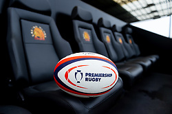 A Premiership Rugby Cup ball on the dugout seats - Mandatory by-line: Ryan Hiscott/JMP - 12/10/2019 - RUGBY - Sandy Park - Exeter, England - Exeter Chiefs v Bristol Bears - Premiership Rugby Cup