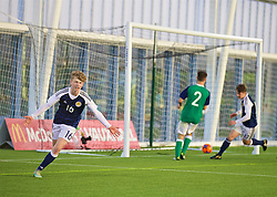 EDINBURGH, SCOTLAND - Sunday, October 30, 2016: Scotland's Zac Butterworth celebrates scoring the second goal against Northern Ireland during the opening match of the Under-16 2016 Victory Shield at ORIAM. (Pic by David Rawcliffe/Propaganda)