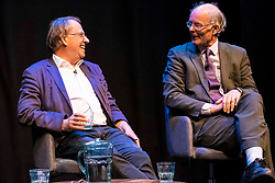 LBC presenter, Iain Dale interviews Sir John Curtice and Michael Crick as part of his All Talk series at the Edinburgh Fringe Festival.<br /> <br /> Pictured: Professor John Curtice who argued that its too late to negotiate a Brexit deal before 31 October and Michael Crick who believes Boris Johnson could be PM for the next 8 years