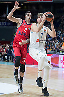 Real Madrid Luka Doncic and Baskonia Vitoria Luca Vildoza during Turkish Airlines Euroleague match between Real Madrid and Baskonia Vitoria at Wizink Center in Madrid, Spain. January 17, 2018. (ALTERPHOTOS/Borja B.Hojas)