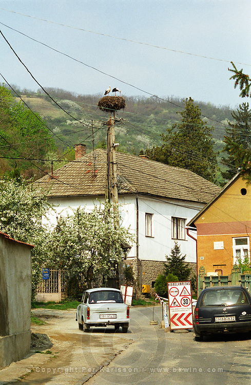 The village Tokaj: a street with an old Trabant car and a modern car, roadworks and a nest of storks. Always air borne electrical wires. The small village called Tokaj is where the two rivers Bodrog and Tisza joins. It is much visited by tourists. the centre has been beautifully restored.