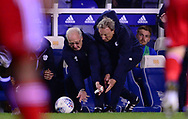 Neil Warnock, the manager of Cardiff city and his assistant manager Kevin Blackwell (l) rush to get the ball back into play.  EFL Skybet championship match, Birmingham city v Cardiff city at St.Andrew's stadium in Birmingham, the Midlands on Friday 13th October 2017.<br /> pic by Bradley Collyer, Andrew Orchard sports photography.