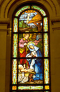 Stained glass crèche scene at Cathedral of Saint Paul. St Paul Minnesota USA