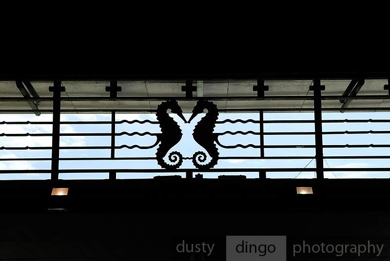 Sea-horse motif in wrought iron, Circular Quay train station, Sydney, Australia