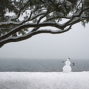 A snow man in Queenstown after the biggest snow storm in New Zealand in the past 50 years. Queenstown, New Zealand, 16th August 2011. Photo Tim Clayton