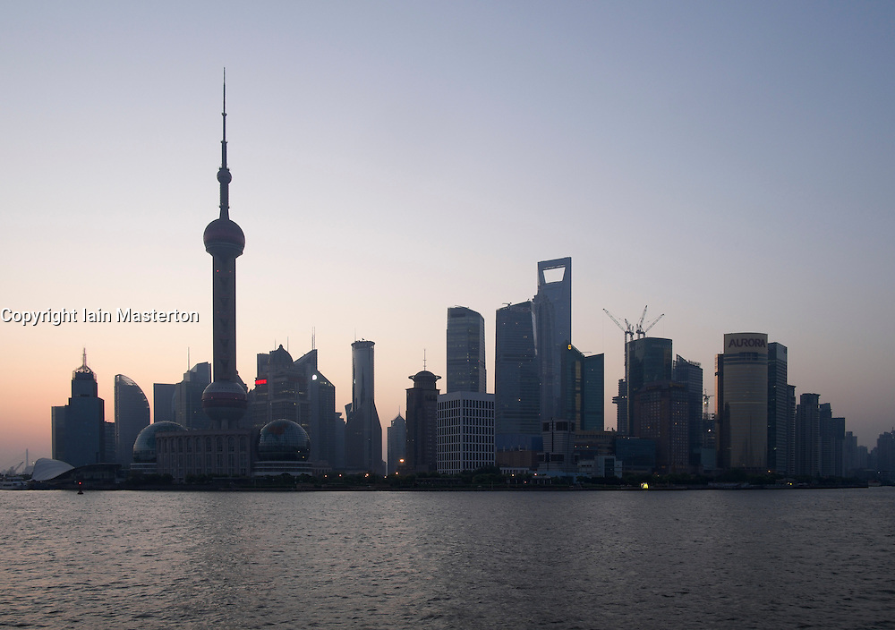 Early morning view of cityscape of Pudong financial district of Shanghai in China