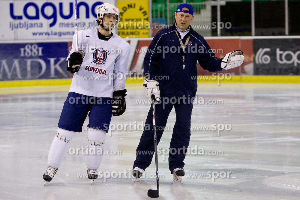 David Rodman and Andrej Hebar st. at first practice of Slovenian National Ice hockey team before World championship of Division I - group B in Ljubljana, on April 5, 2010, in Hala Tivoli, Ljubljana, Slovenia.  (Photo by Vid Ponikvar / Sportida)