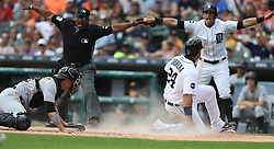 August 10, 2017 - Detroit, MI, USA - The Detroit Tigers' Miguel Cabrera (24) scores on a triple by Nicholas Castellanos against the Pittsburgh Pirates in the first inning on Thursday, Aug. 10, 2017, at Comerica Park in Detroit. The Pirates won, 7-5. (Credit Image: © Kirthmon F. Dozier/TNS via ZUMA Wire)