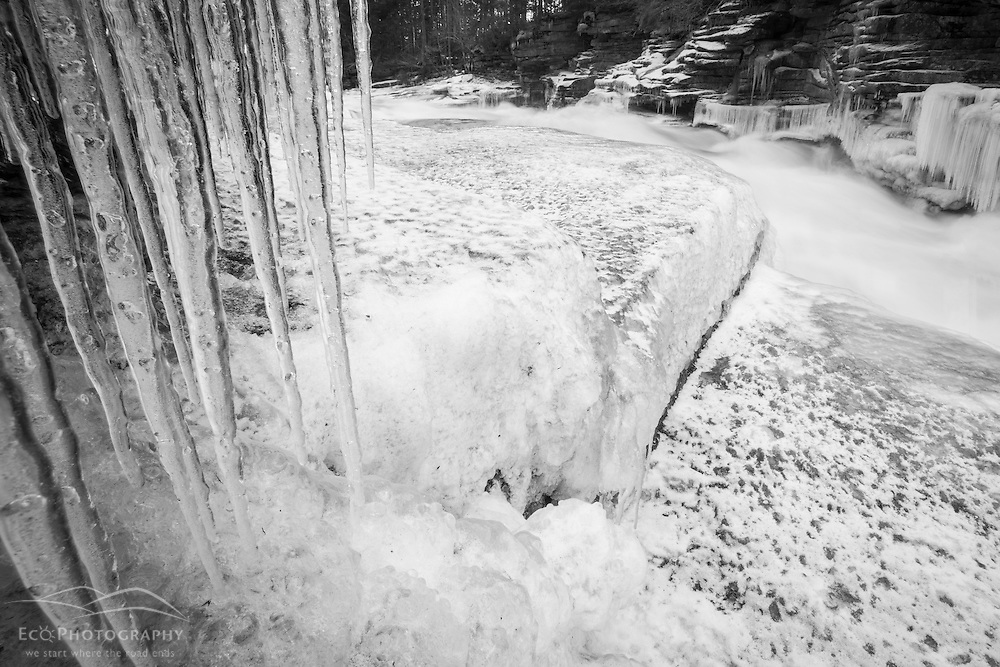 Icicles and Lower Falls on the Ammonoosuc River in Twin Mountain, New Hampshire.