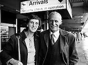 BBob Tisdall, who won a gold medal for the marathon at the 1932 Olympic Games, arrives in Dublin with his wife Peggy for an anniversary dinner in the Burlington Hotel.<br /> 24 September 1982