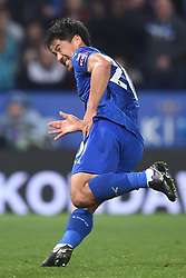 Leicester City's Shinji Okazaki celebrates scoring the opening goal