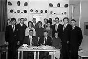 14/03/1964<br /> 03/14/1964<br /> 14 March 1964<br /> Kerrymens Association Annual General Meeting at the Country Shop, St. Stephen's Green, Dublin. Picture shows the newly elected committee of the association (l-r) Seated: Bart Moriarty, Treasurer, (Cahirciveen); Padraig Moriarty, Chairman, (Dingle) and Miss Peggy Crowley, Secretary, (Killarney). Standing: Brendan Lynch, (Ballyheigue); Dan O'Leary, Assistant Secretary, (Kilorglin); Miss Nancy Touhy, (Kenmare); Jerome O'Shea, (Cahirciveen); Miss Kitty Nash, (Kenmare); Bill O'Sullivan (Sneem); Kevin Coffey, Vice-Chairman, (Beaufort) and Colm O'Connor, Assistant Treasurer, (Ballinskelligs).