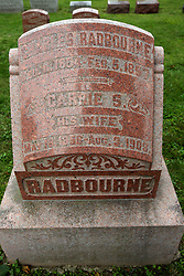 """26 August 2017:   A part of the History of McLean County Illinois.<br /> <br /> Tombstones in Evergreen Memorial Cemetery.  Civic leaders, soldiers, and other prominent people are featured.<br /> <br /> Section 17<br /> Charles """"Old Hoss"""" Radbourne<br /> Dec 11, 1854 - February 5, 1897<br /> Carrie S.<br /> his wife<br /> May 18, 1856 - Aug 3, 1903<br /> <br /> Charles Gardner Radbourn, nicknamed """"Old Hoss"""",  American professional baseball pitcher who played 12 seasons, playing for the Buffalo Bisons, Providence Grays, Boston Beaneaters, Boston Reds, and Cincinnati Reds"""