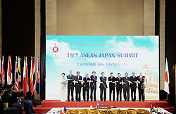 VIENTIANE, Sept. 7, 2016 (Xinhua) -- Leaders from Association of Southeast Asian Nations (ASEAN) members pose for a group photo with Japanese Prime Minister Shinzo Abe (7th R) at the 19th ASEAN-Japan Summit in Vientiane, Laos, Sept. 7, 2016. (Xinhua/Wang Shen)(axy) (Credit Image: © Wang Shen/Xinhua via ZUMA Wire)