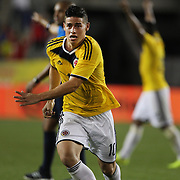 James Rodriguez, Colombia, celebrates after scoring the winning goal during the Colombia Vs Canada friendly international football match at Red Bull Arena, Harrison, New Jersey. USA. 14th October 2014. Photo Tim Clayton
