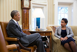 President Barack Obama meets with Attorney General Loretta Lynch in the Oval Office, April 27, 2015. (Official White House Photo by Pete Souza)<br /> <br /> This official White House photograph is being made available only for publication by news organizations and/or for personal use printing by the subject(s) of the photograph. The photograph may not be manipulated in any way and may not be used in commercial or political materials, advertisements, emails, products, promotions that in any way suggests approval or endorsement of the President, the First Family, or the White House.