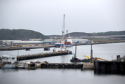 Port entrance through which the Royal Navy's new aircraft carrier HMS Queen Elizabeth has to be manoeuvred through, at Rosyth Dockyard in Dunfermline.