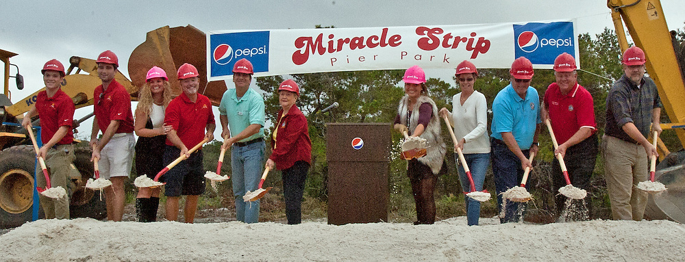 Panama City Beach Council Members join Mayor Gayle Oberst, Miracle Strip owners Teddy and Jenny Meeks to break ground for the Miracle Strip expansion and Pier Park