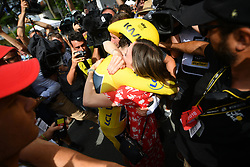 July 28, 2018 - Espelette, FRANCE - British Geraint Thomas of Team Sky wearing the yellow jersey of leader in the overall ranking celebrates after the 20th stage of the 105th edition of the Tour de France cycling race, a 31km individual time trial from Saint-Pee-sur-Nivelle to Espelette, France, Saturday 28 July 2018. This year's Tour de France takes place from July 7th to July 29th...BELGA PHOTO DAVID STOCKMAN (Credit Image: © David Stockman/Belga via ZUMA Press)