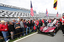 January 26, 2019 - Daytona, FL, U.S. - DAYTONA, FL - JANUARY 26: The #77 Mazda Team Joest Mazda DPi of Oliver Jarvis, Tristian Nunez, Timo Bernhard, and Rene Rast is pushed out on the grid before the Rolex 24 at Daytona on January 26, 2019 at Daytona International Speedway in Daytona Beach, Fl. (Photo by David Rosenblum/Icon Sportswire) (Credit Image: © David Rosenblum/Icon SMI via ZUMA Press)