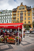 """""""Grand Hotel Evropa"""" located in the middle of Wenceslas Square in Prague."""