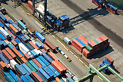 Nederland, Zuid-Holland, Rotterdam, 04-07-2006;  Waalhaven met terminals voor containeroverslag van ECT, Europe Container Terminals. .Container cargo handling on the terminaof company ECT, in the Waalhaven (harbour) of the Port of Rotterdam.. .luchtfoto (toeslag); aerial photo (additional fee required); .foto Siebe Swart / photo Siebe Swart