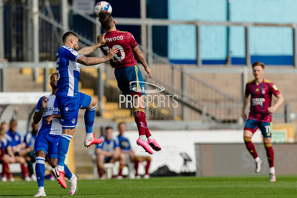 Ipswich Town forward James Norwood (10) and Bristol Rovers defender Max Ehmer (5)  during the EFL Sky Bet League 1 match between Bristol Rovers and Ipswich Town at the Memorial Stadium, Bristol, England on 19 September 2020.