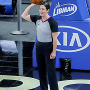 ORLANDO, FL - APRIL 12: NBA referee Lauren Holtkamp-Sterling #7 calls a game between the San Antonio Spurs and Orlando Magic at Amway Center on April 12, 2021 in Orlando, Florida. NOTE TO USER: User expressly acknowledges and agrees that, by downloading and or using this photograph, User is consenting to the terms and conditions of the Getty Images License Agreement. (Photo by Alex Menendez/Getty Images)*** Local Caption *** Lauren Holtkamp-Sterling