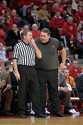 31 December 2008:  Marty Simmons pleads his case with the official. Illinois State University Redbirds extended their record to 13-0 with an 80-50 win over the Evansville Purple Aces on Doug Collins Court inside Redbird Arena on the campus of Illinois State University in Normal Illinois