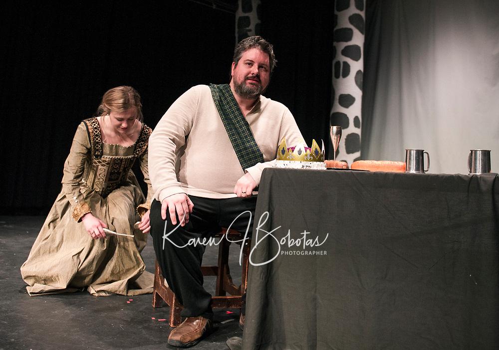 "Cordelia Penny (Lady Macbeth) and Brendan Berube (Macbeth) during Streetcar Company Theater's dress rehearsal for ""Macbeth"" Wednesday evening at Laconia High School.  (Karen Bobotas/for the Laconia Daily Sun)"