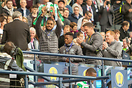 Jeremy Toljan holds the William Hill Scottish Cup aloft following their victory today in the William Hill Scottish Cup Final match between Heart of Midlothian and Celtic at Hampden Park, Glasgow, United Kingdom on 25 May 2019.