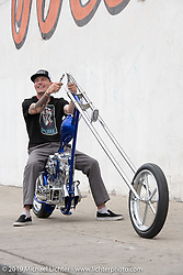 BF11 invited Builder Hawke Lawshe's custom 1946 Harley-Davidson cut-away open rocker Knucklehead after the show. Photographed by Michael Lichter Long Beach, CA. June 25, 2019. ©2019 Michael Lichter
