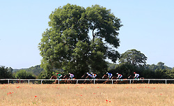 Pam's Angel ridden by Darragh Keenan leads the field down the back straight during The British EBF Confined Novice Stakes at Thirsk Racecourse, Thirsk.