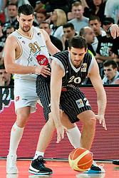 Petar Bozic of Partizan vs Saso Ozbolt of Union Olimpija during final match of Basketball NLB League at Final Four tournament between KK Union Olimpija (SLO) and Partizan Belgrade (SRB), on April 21, 2011 at SRC Stozice, Ljubljana, Slovenia. (Photo By Matic Klansek Velej / Sportida.com)