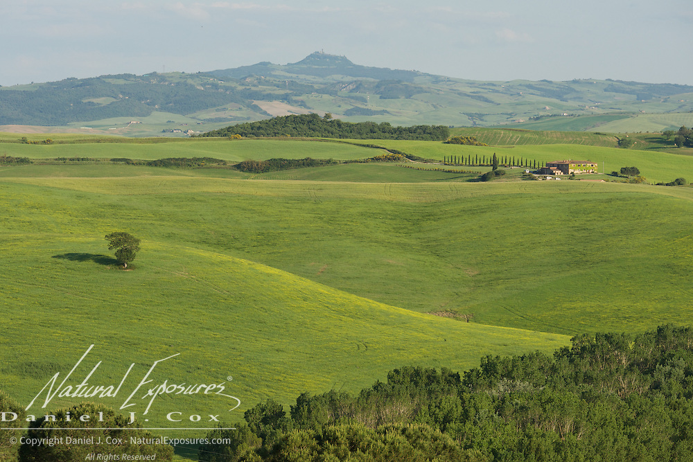 The rolling Tuscan landscape in southern Tuscany. Itlay