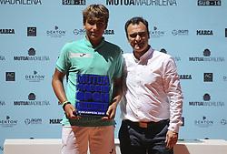 May 12, 2019 - Madrid, MADRID, SPAIN - Alejandro Manzanera (ESP) winner of the Mutua Madrid Open Sub 16 2019 (ATP Masters 1000 and WTA Premier) tenis tournament at Caja Magica in Madrid, Spain, on May 11, 2019. (Credit Image: © AFP7 via ZUMA Wire)