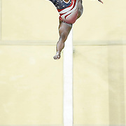 United States women's gymnast Simone Biles performed on the balance beam during the USA's women's team final gold medal victory at the 2016 Summer Olympics Games in Rio de Janeiro, Brazil.