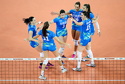 Players of Slovenia celebrate during volleyball match between Slovenia and Slovakia in CEV European League Women on June 22, 2016 in Stozice, Ljubljana, Slovenia. Photo by Morgan Kristan / Sportida