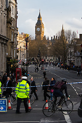 London, March 22nd 2017. Whitehall is shut to traffic following what is suspected to be a terrorism incident where a car mowed down several pedestrians, killing one and critically injuring others, before its driver entered the grounds of Parliament, stabbing a police officer who subsequently died, and being shot himself by police.
