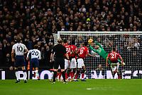 Football - 2018 / 2019 Premier League - Tottenham Hotspur vs. Manchester United<br /> <br /> Manchester United's David De Gea denies Tottenham Hotspur's Harry Kane's free kick, at Wembley Stadium.<br /> <br /> COLORSPORT/ASHLEY WESTERN