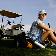 ENCINITAS, CA, AUG.1, 2006: MacKenzie Kline suffers from a bad heart after being born with only one ventricle. She does not receive enough oxygen and is fatigued quickly. She battled the United States Golf Association to allow her use of a cart and her oxygen during competition. After initially being denied, the USGA allowed her to use both. She was good enough to gain entry into the U.S. Girls' Junior and the U.S. Women's Amateur championships. She was photographed at her home course Encinitas Ranch in Encinitas, CA on August 1, 2006  (Photograph by Todd Bigelow/Aurora).
