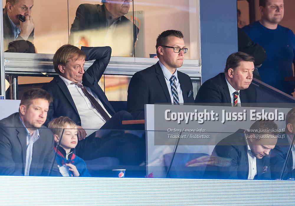 Hjallis Harkimo, Janne Vuorinen, Jari Kurri. Jokerit - Torpedo Nizhny Novgorod. KHL. 29.2.2016. Photo: Jussi Eskola