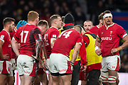 Twickenham, England, 7th March 2020, Captain, Alun WYN JONES,  huddle,  during a break in play  Guinness Six Nations, International Rugby, England vs Wales, RFU Stadium, United Kingdom, [Mandatory Credit; Peter SPURRIER/Intersport Images]